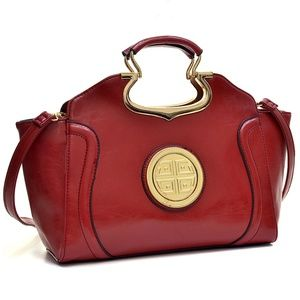 💗💕Red Drop-Handle Patent Winged Satchel